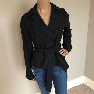 THEORY Black Short Trench style Jacket